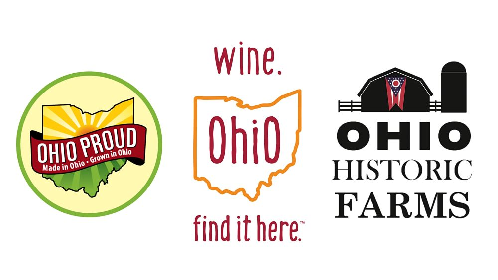Ohio Proud, Ohio Wines and Historic Family Farms Logos